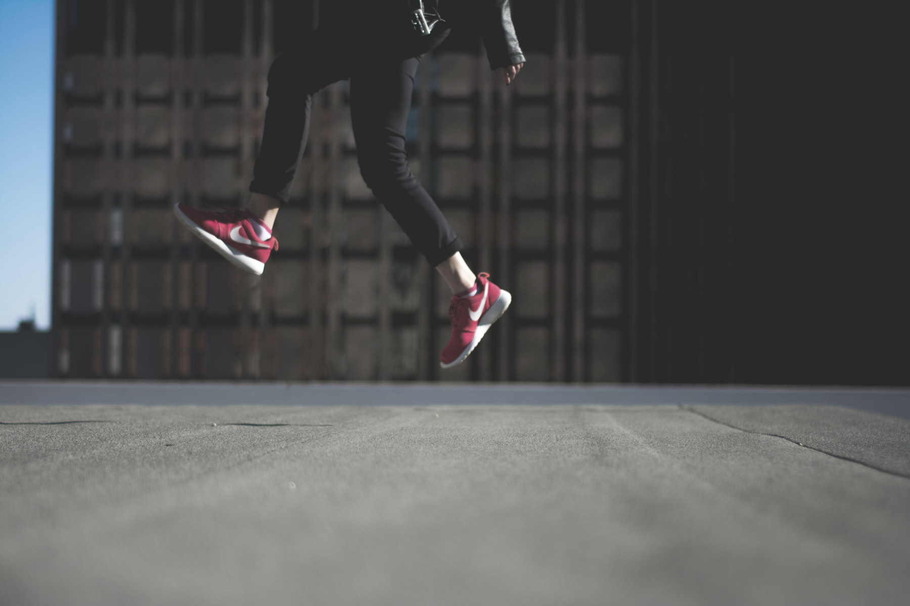 jump red sneakers a